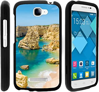 TurtleArmor | Compatible with Alcatel One Touch Fierce 2 Case | POP Icon Case [Slim Duo] Fitted Ultra Compact Slim Hard Cover Matte Snap On Shell Protector on Black Beach - Beach Lagoon