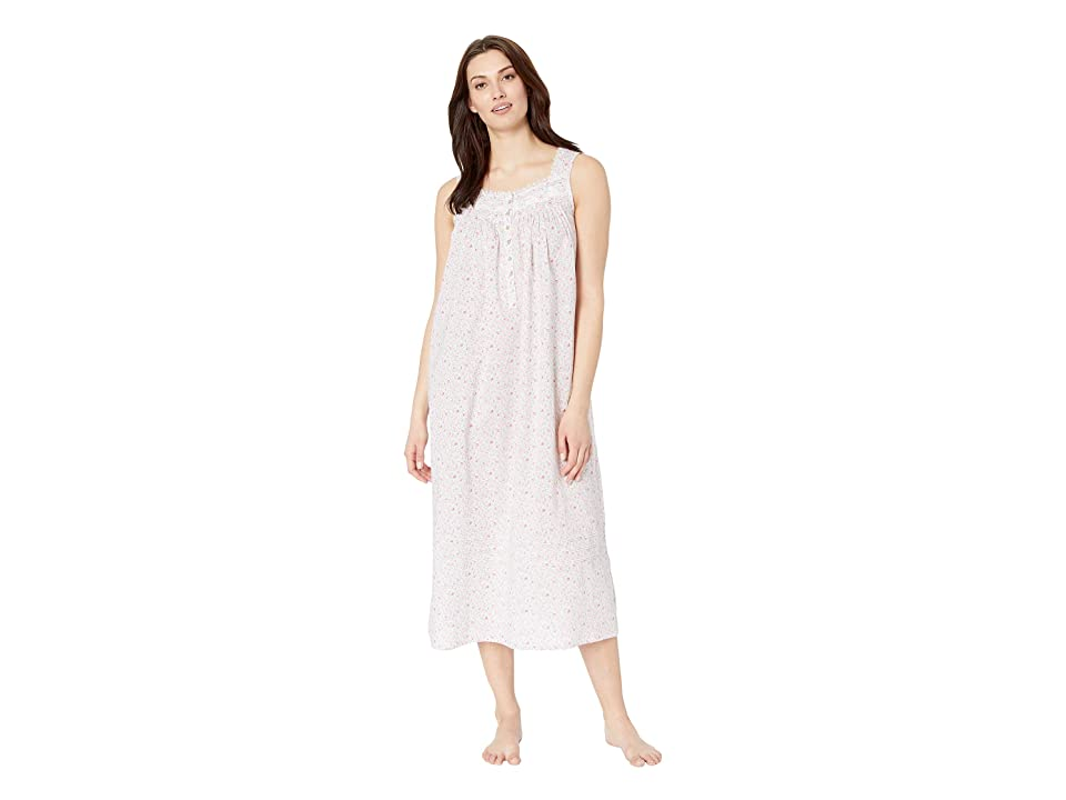 Eileen West Cotton Woven Lawn Ballet Nightgown (White Ground Multi Ditsy Floral) Women