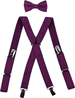 Mens Bow Tie Suspender Set X Back Braces Stylish Bow Ties for Women Party Purple