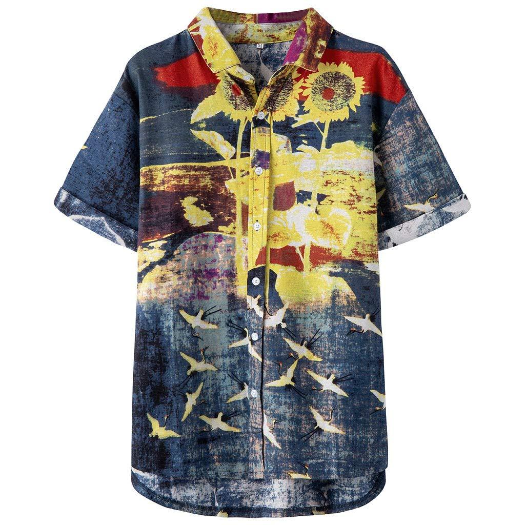 ღLILICATღ Camisa Hawaiana Hombre Impresión de Flores Manga Corta Hawaii Funky Shirt Botón La Solapa Camisetas Suelto Blusa M-XXXL: Amazon.es: Deportes y aire libre
