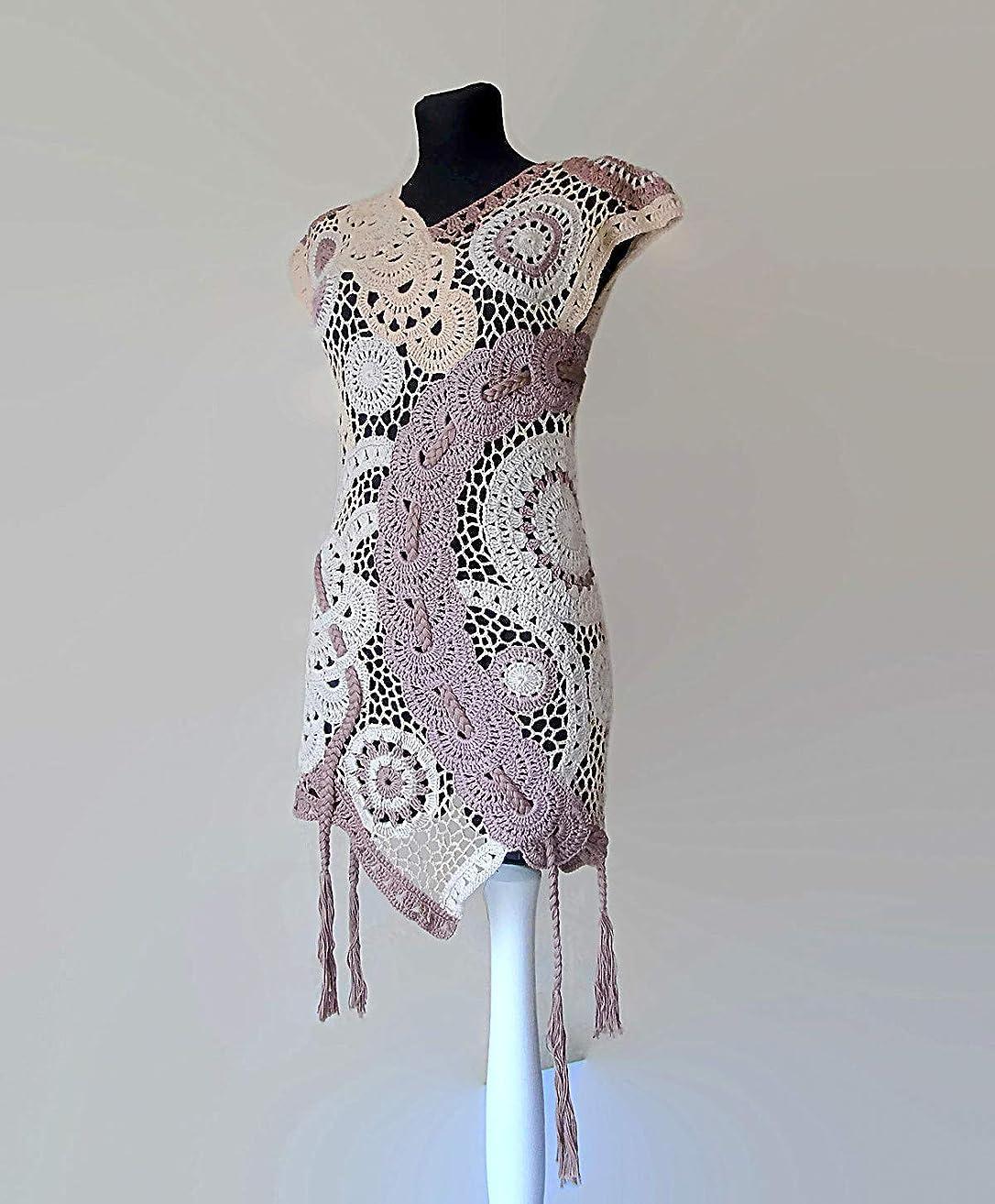 Women's Tunic Top Asymmetrical High Low V Neck Tassel Waistcoat Vest Knit Crochet Lace