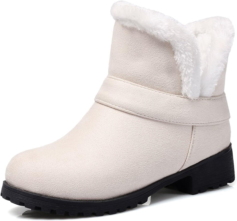 DoraTasia Artificial Suede Nubuck Ankle Calf Low Heel Platform Comfort Round Toe Slip on Women's Snow Booties
