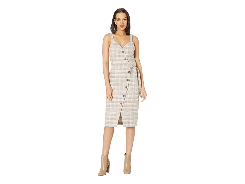 J.O.A. Check Wrap Dress (Tan Plaid) Women