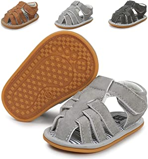 Infant Baby Boys Girls Summer Sandals Non-Slip Soft Sole Toddler First Walker Cirb Shoes(0-18 Months) (6-12 Months M US Infant,A-Light Grey Baby Boy Sandals