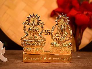 CraftVatika Metal Gold Plated Decorative Laxmi Ganesha Set Hindu Idols Ganesh Lakshmi Statue Home Office Car Dashboard Dec...