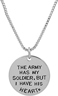 Art Attack Army Necklace, Army Jewelry for Women, Military Girlfriend, Soldier Heart Love & War Armed Services Pendant