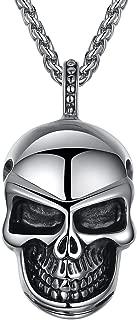 Men's Stainless Steel Gothic Skull Biker Pendant Necklace, 24