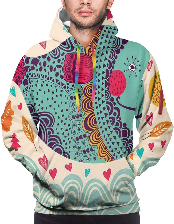 Men's Hoodies Sweatshirts,Colorful Oriental Mandala Motif with Stars Paisleys and Dots Kaleidoscope