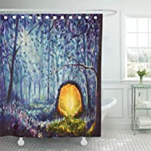 Abaysto Original Oil Painting Bright Yellow Portal to Another World in Mystical Blue Bathroom Decor Shower Curtain Sets with Hooks Polyester Fabric Great Gift