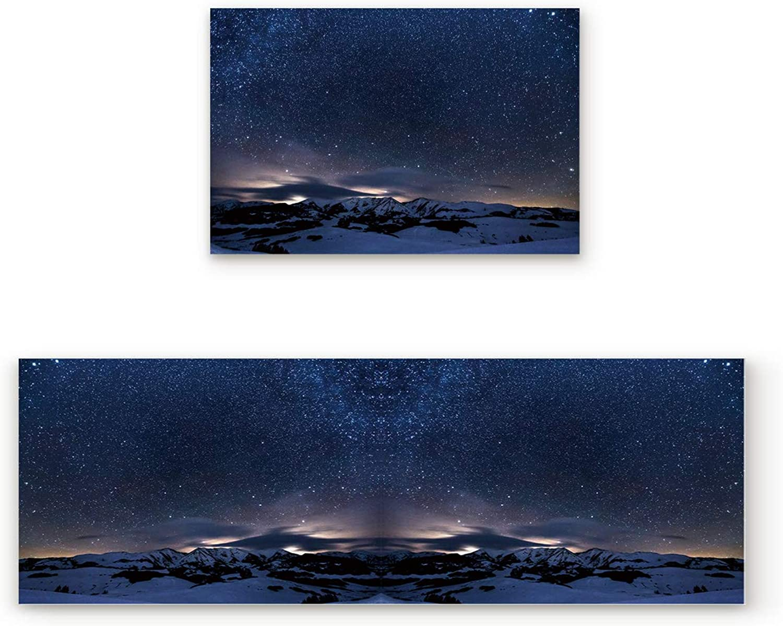 KAROLA 2 Piece Non-Slip Kitchen Mat Doormat Runner Rug Set Thin Low Pile Indoor Area Rugs View of The Polar Starry Sky 19.7 x31.5 +19.7 x63
