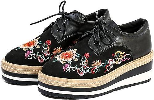 GDXH Nouveau Femmes Chaussures Hiver Nouveau Style Chaussures Brodées Dentelle Talons Talons Chaussures Casual Style Chaussures Chaussures Casual Vintage