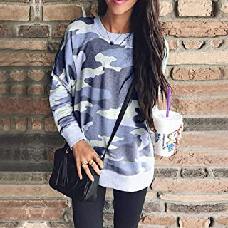Qiyun Women Camouflage Printing Round Collar Long Sleeve Pullover Sweatshirt