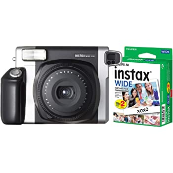 Fujifilm Instax Wide 300 Instant Film Camera (Black) and Instax Wide Instant Film, 20 Exposures