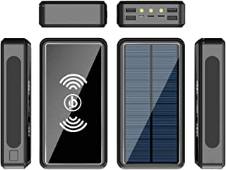 100000Mah Power Bank Portable Solar Wireless Charger - External Battery with LED Status Indicator, High-Capacity Powerban...