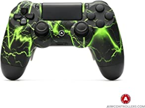 PS4 Slim DualShock 4 Custom Wireless Controller - AiMController Storm Green Design with 4 Paddles. Upper Left Square, Lower Left X, Upper Right Triangle, Lower Right O