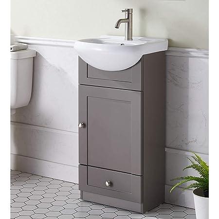 Amazon Com Small Bathroom Vanity Cabinet And Sink White Pe1612w New Petite Vanity Tools Home Improvement