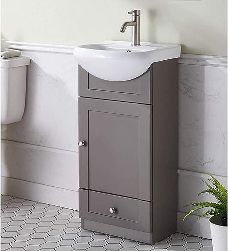 Amazon Com Mogiyin Modern Design 18 Inch Grey Khaki Stand Bathroom Vanity For Small Space Bathroom Sink Vanity Combo Cabinet Set With White Countertop Ceramic Vessel Sink 1 Door 1 Drawer Tools
