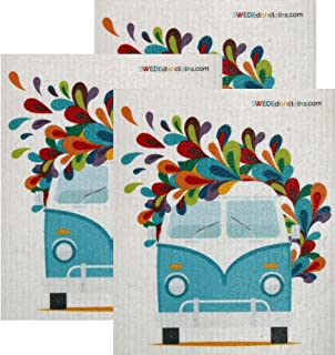 Hippie Bus Set of 3 Each Swedish Dishcloths | ECO Friendly Absorbent Cleaning Cloth | Reusable Cleaning Wipes