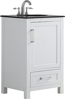 Simpli Home AXCVSHW-20 Evan 20 inch Contemporary Bath Vanity in White with Black Granite Top