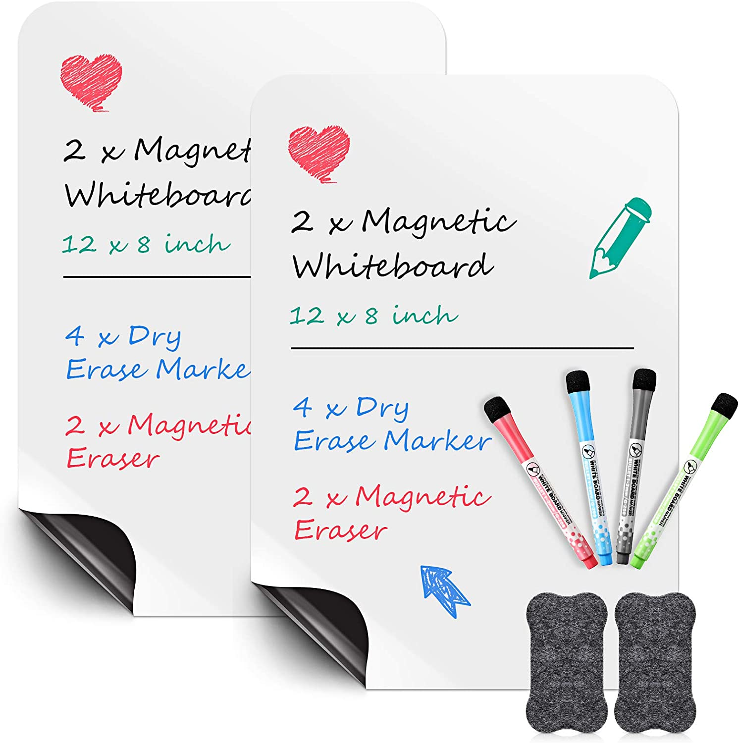 2 Pieces Magnetic Whiteboard Sheet Super special price for Fridge x Selling rankings Dry Er 8 12 Inch