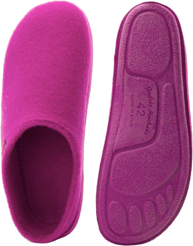 Slipper//Pantoffeln mit Rutschfester Gummisohle AM001 EU 26 bis EU 50 Oberteil aus Filz Andres Machado Unisex Hausschuhe f/ür Damen und Herren f/ür Sommer und Winter