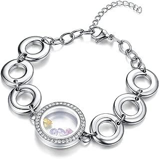 Living Memory Floating Charms Locket Bracelet Waterproof Screw Locket Stainless Steel Bangle Free Zircon Birthstones