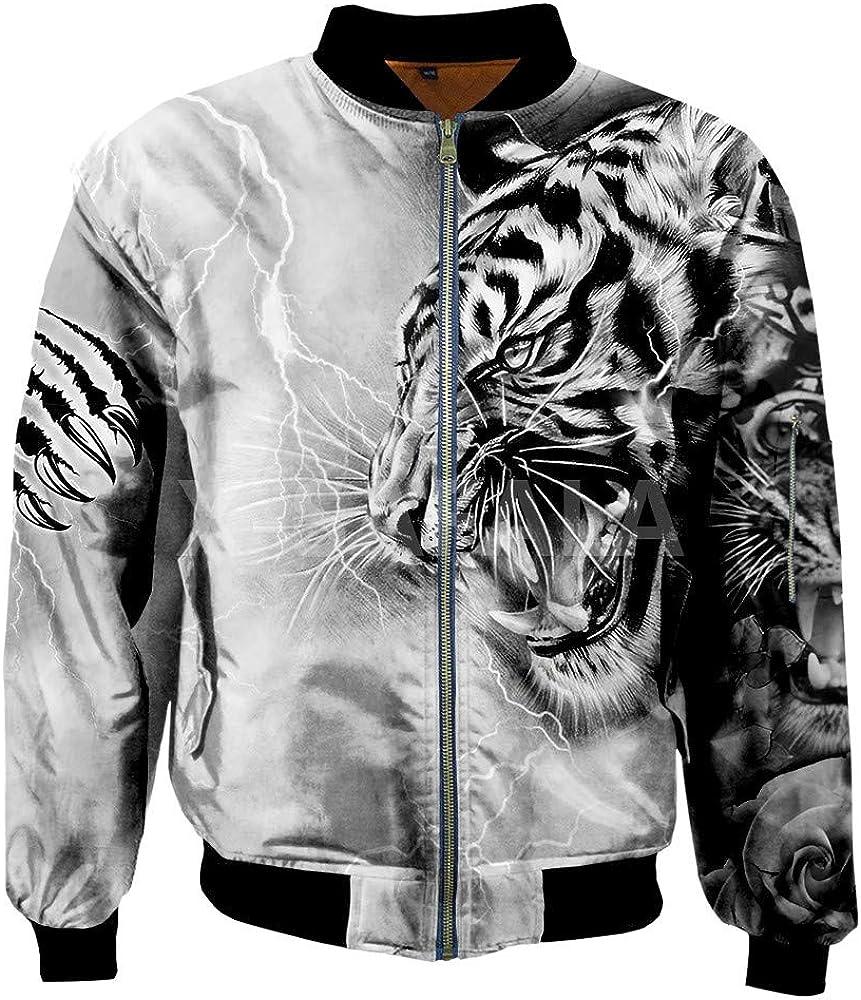Mens Unisex 3D Bomber Jackets White Tiger Skin Print Zipper Flight Jacket Unisex Harajuku