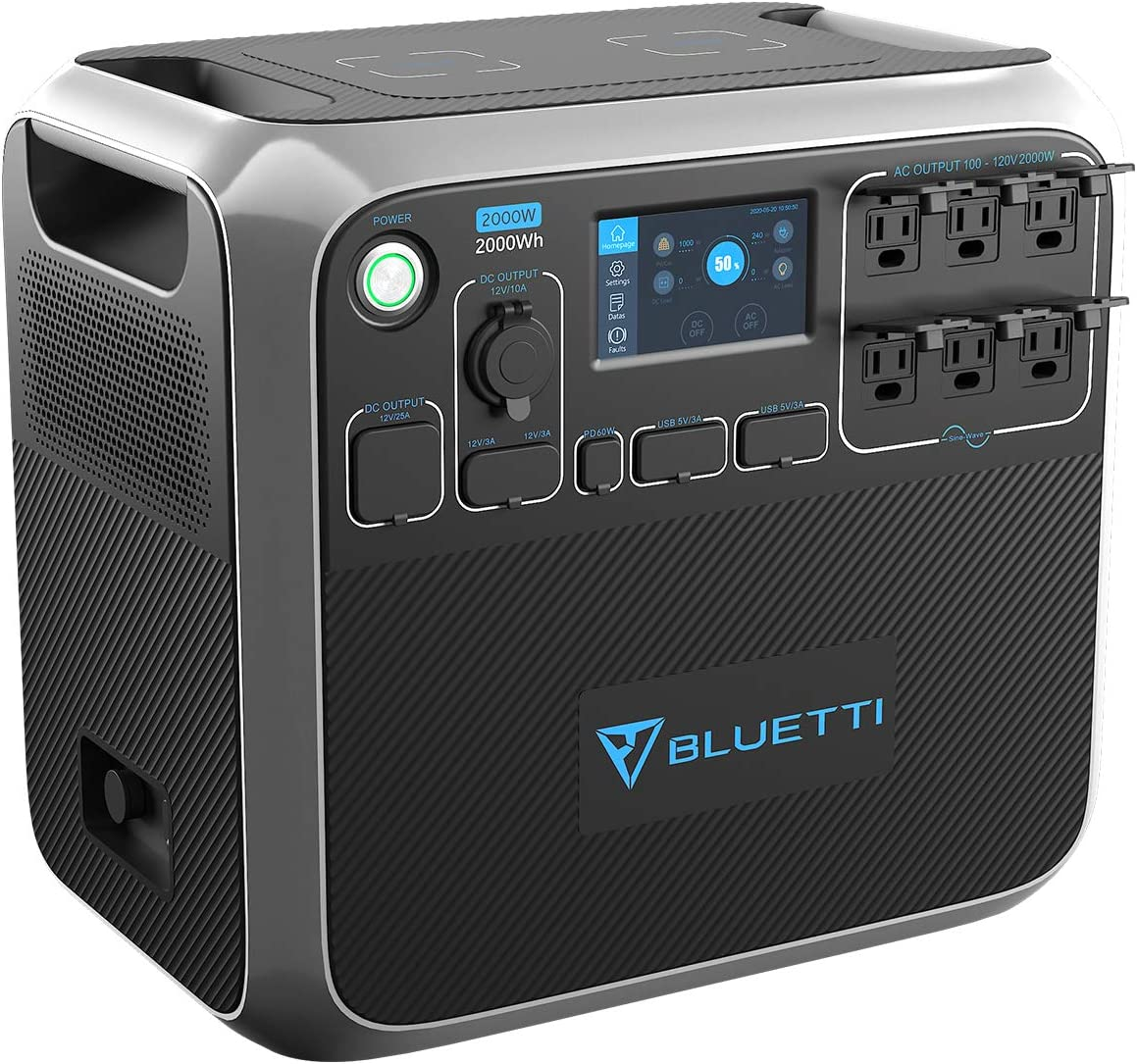 BLUETTI Portable Power Station AC200P 2000W 2000Wh Solar Generator 700W Max Solar Input Backup Battery Pack with 6 2000W AC Outlet(4800W Peak) for Van Home Emergency Outdoor Camping Explore