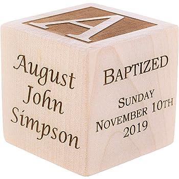 "Personalized Baby Baptism/Dedication/Christening Wood Block, Choose from 3 Sizes, Baptism Gift for Boy, Girl, Baby Dedication Gifts, Unique Baptism Gifts, Yazidism, Sikhism (2.5"")"