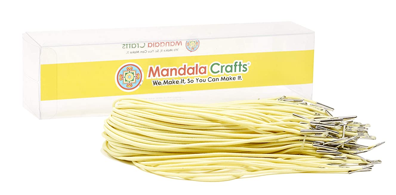 Mandala Crafts Menu Mask Badge Sign Hanging Elastic Barbed Cord Loop Band with Metal Barbs (13 Inches 100 Loops, Buttermilk)