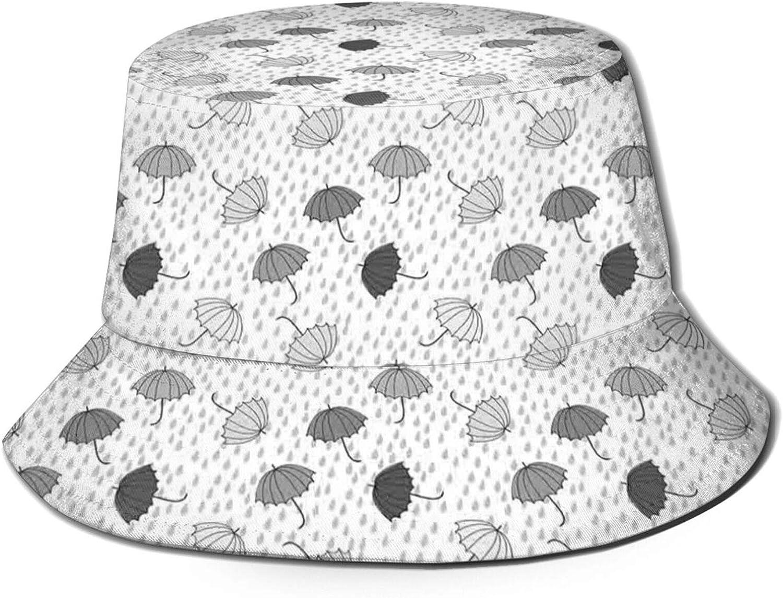 Umbrellas Pattern in Rain Greyscale Illustration of Winter Accessories Unisex Bucket Hat for Men Women