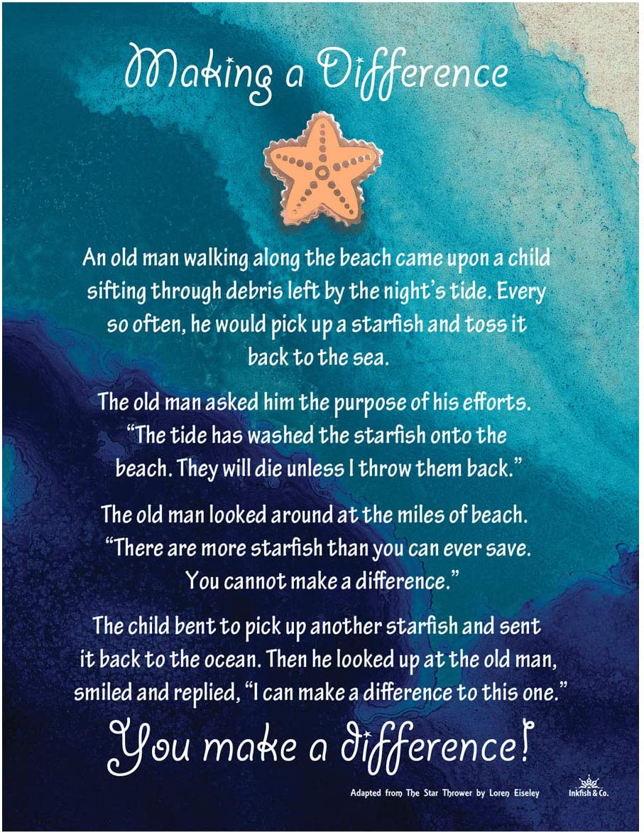 Starfish Poem Story Lapel Pin Token of Appreciation and Recognition Making A Difference (1) Coral Color