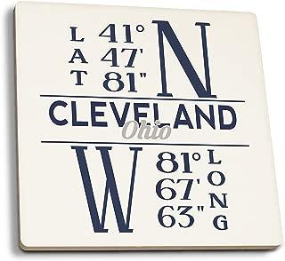 Lantern Press Cleveland, Ohio - Latitude and Longitude (Blue) (Set of 4 Ceramic Coasters - Cork-Backed, Absorbent)