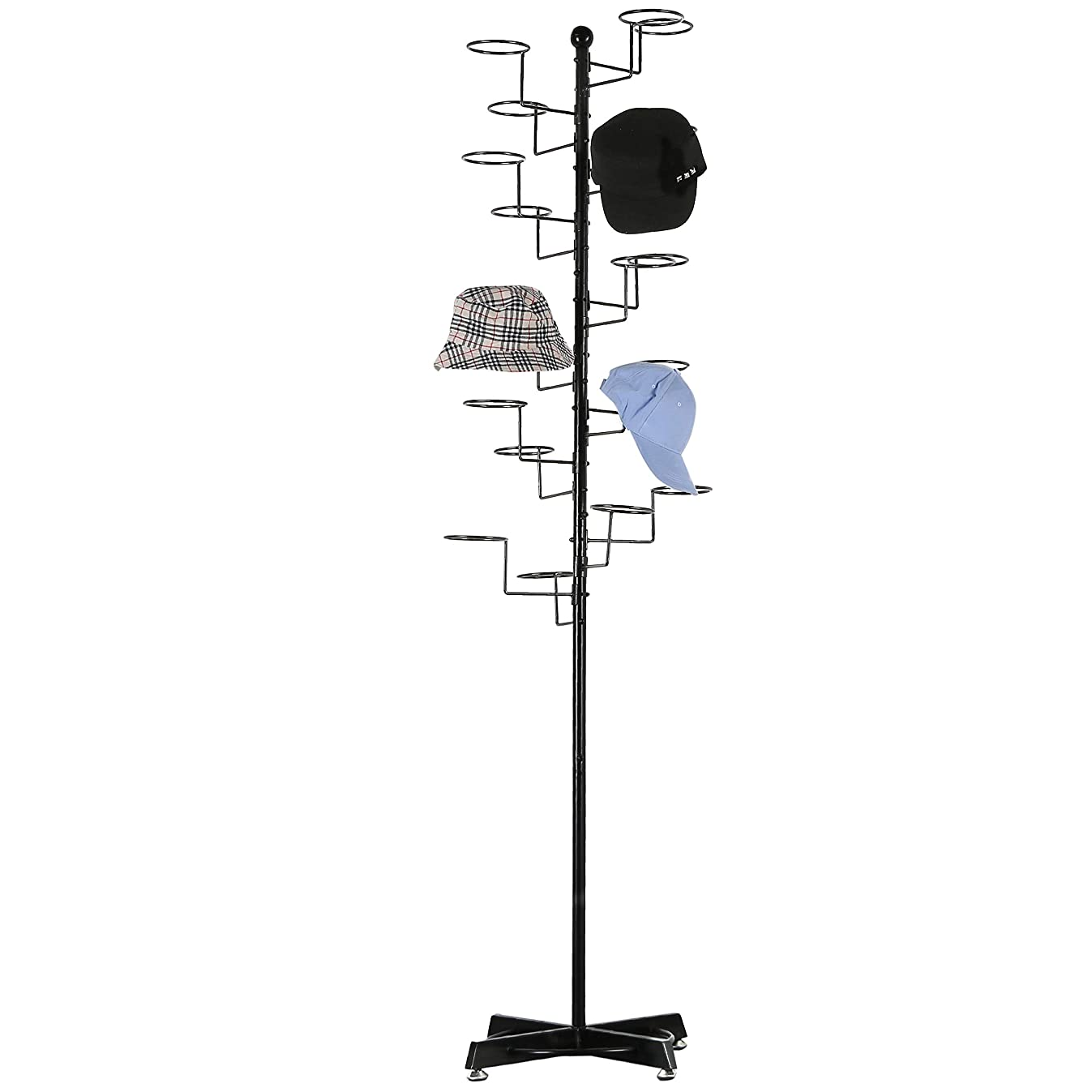 Modern Black Metal Freestanding Customizable Retail Hat Rack/Wig Display Stand w/ 20 Circular Hat Hooks
