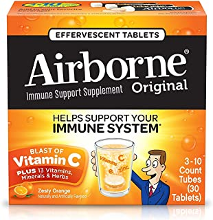 Airborne Zesty Orange Effervescent Tablets, 30 Count - 1000mg of Vitamin C - Immune Support Supplement (Packaging May Vary)