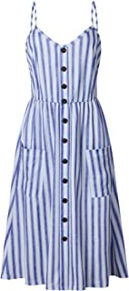 CHOiES record your inspired fashion Women's Boho Tie Front Button Down Spaghetti Straps Floral Backless Swing Midi Dress