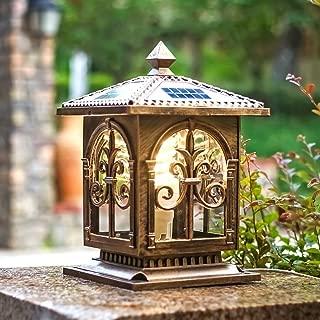 IGLZ European Retro Brass Color Pillar Lamp Smart Remote Control Solar Post Lamp White Light, Warm Light LED Column Lamp Outdoor Waterproof Aluminum Alloy Die Casting Glass Street Light (Color : B)