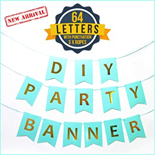 DIY Party Banner Letter Set w/Punctuation (64-Piece Kit) Reusable, Gold and Turquoise Lettering | Custom Signs for Birthday Parties, Wedding, Bachelorette, Holidays, Events