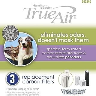 Hamilton Beach TrueAir Replacement Carbon Filter for Odor Eliminators, Neutralizes Pet Smells, 3-Pack (04234G)