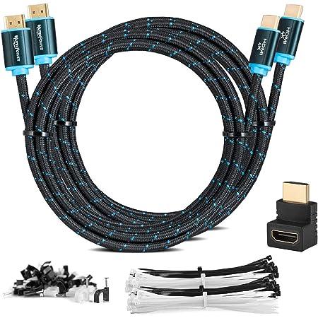 Lot de 2 Câbles MutecPower 3M HDMI 2.0 à Haut Débit avec Ethernet, 30 AWG, supportent Totalement Les canaux 3D 4Kx2K / 60HZ et Le Canal de Retour Audio - Câble Ultra HD 3 Mètre - mâle à mâle