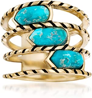 Turquoise Multi-Row Ring With Black Enamel in 18kt Yellow Gold Over Sterling
