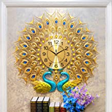 Chinese Wind Pair Of Peacock Styling Living Room Bedroom Clock, Dazzling Golden Peacock Open Screen, Metal Material, Mute ...