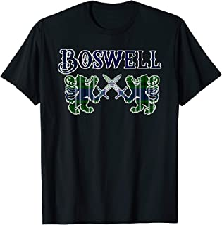 Clan Boswell Scottish T-Shirt Family Kilt Tartan Lion Gift