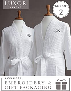 Luxor Linens Egyptian Cotton His & Hers Waffle Robes - Perfect Housewarming Gifts! (Mr. & Mrs. with Gift Packaging, Black Monogram)