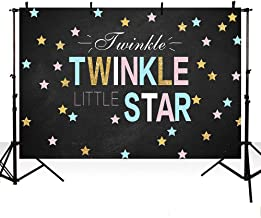 MEHOFOTO Baby Birthday Photo Background Black Twinkle Twinkle Little Star Baby Shower Gender Reveal Party Decoration Pink or Blue Banner Backdrops for Photography 7x5ft