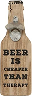 """WHW Whole House Worlds Americana Beer is Cheaper Than Therapy, Bottle Opener Wall Plaque, Silo Style, Flat Panel Wood, Metal, 11 3/4"""" Tall, Keyhole Hanger"""
