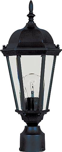 "wholesale Maxim 1001BK Westlake Cast popular Aluminum Clear outlet online sale Glass Outdoor Post/Pole Mount, 1-Light 60 Watt, 19""H x 8""W, Black online"