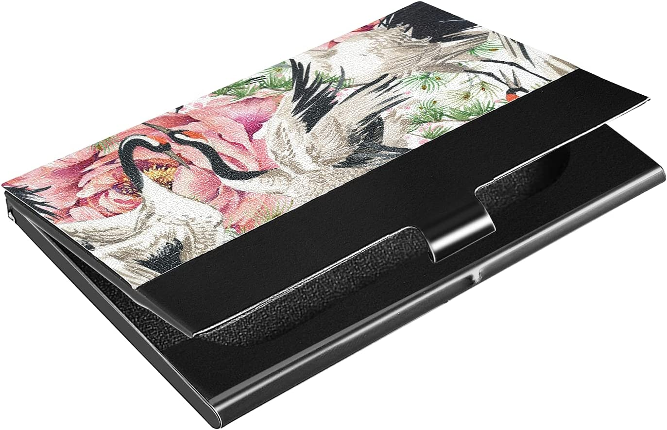 OTVEE Crane Flowers Business Card Holder Wallet Stainless Steel & Leather Pocket Business Card Case Organizer Slim Name Card ID Card Holders Credit Card Wallet Carrier Purse for Women Men