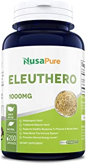 Eleuthero Root 1000mg 200caps (Non-GMO & Gluten Free) Healthy Energy and Stamina, Mental Endurance, Metabolic Efficiency and Stress Resistance