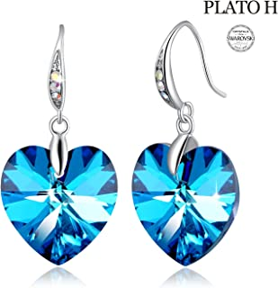 ❤Crystals from Swarovski❤ Heart Earrings Color Changing...